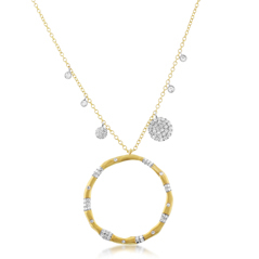 Two Toned Diamond Circle Necklace