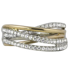 Two Toned Diamond Crossover Ring