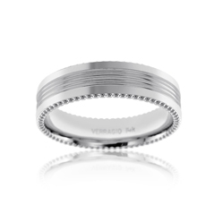 VERRAGIO Ridged Center Wedding Band