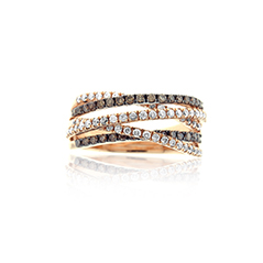 White & Champagne Diamond Crossover Ring