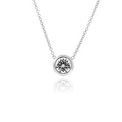 White Gold Bezel Diamond Solitare Necklace