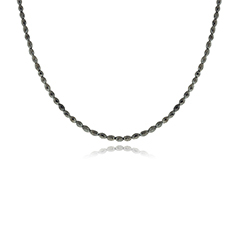 White Gold Black Diamond Bead Necklace