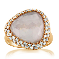 White Quartz, Mother-of-Pearl & Diamond Ring