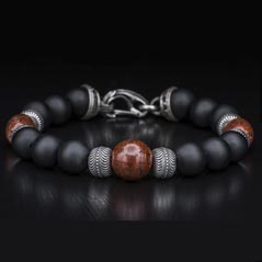 WILLIAM HENRY Men's Onyx & Dinosaur Bone Beaded Bracelet