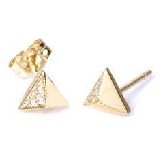 ZOE CHICCO Small Diamond Pyramid Stud Earrings