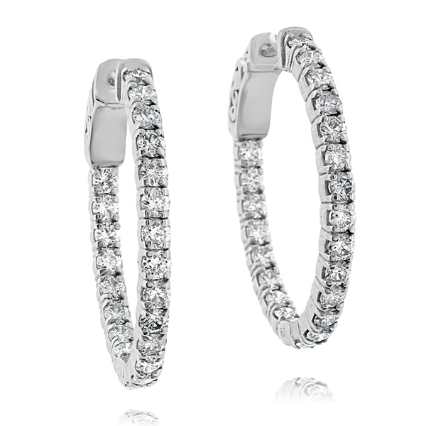 2 Carat Inside Out Diamond Hoops photo