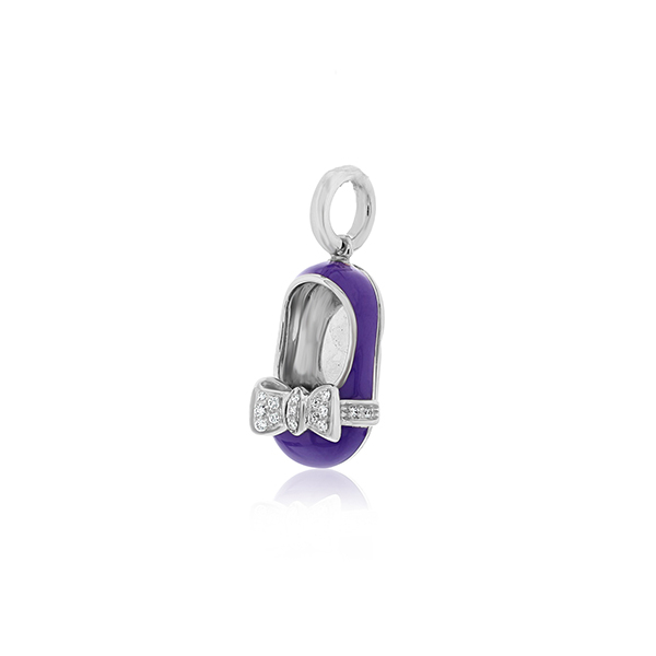 AARON BASHA Violet Enamel Diamond Shoe Charm photo