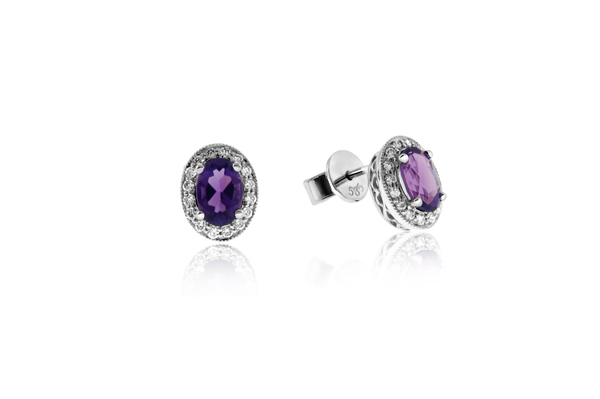 Amethyst & Diamond Earrings photo