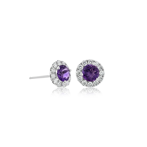Amethyst & Diamond Stud Earrings  photo