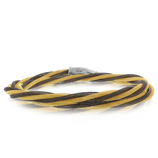 Amore Yellow Gold & Blackened Rhodium Double Wrap Bracelet photo