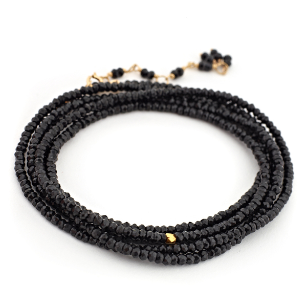ANNE SPORTUN Black Spinel Beaded Wrap Bracelet photo
