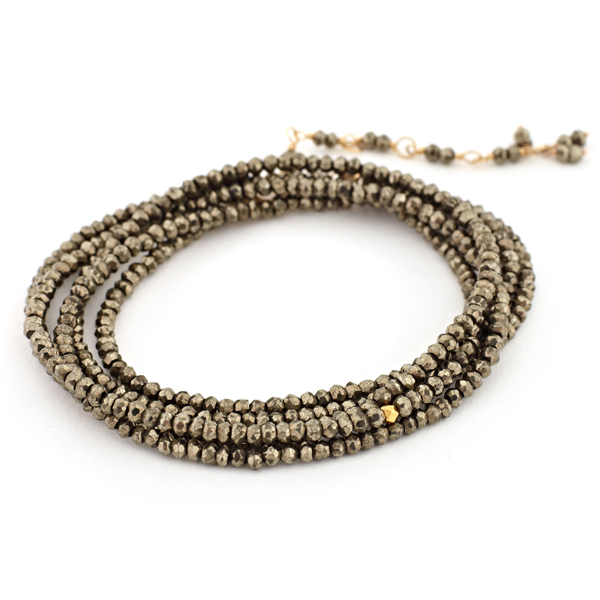 ANNE SPORTUN Pyrite Beaded Wrap Bracelet photo