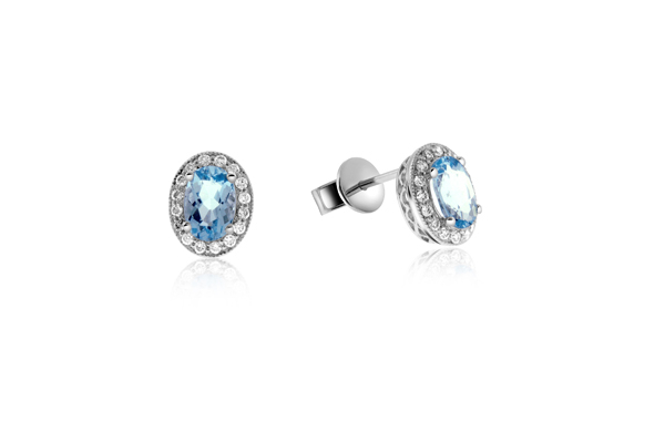 Aquamarine & Diamond Earrings photo