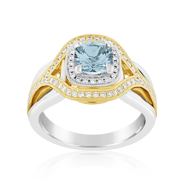 Aquamarine & Diamond Ring photo