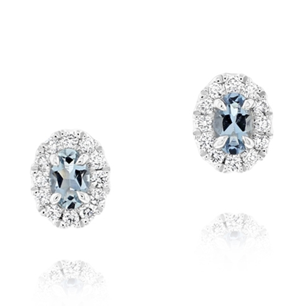 Aquamarine & Diamond Stud Earrings photo