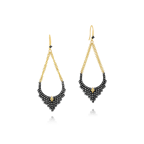 ARMENTA Old World Champagne Diamond Teardrop Earrings photo