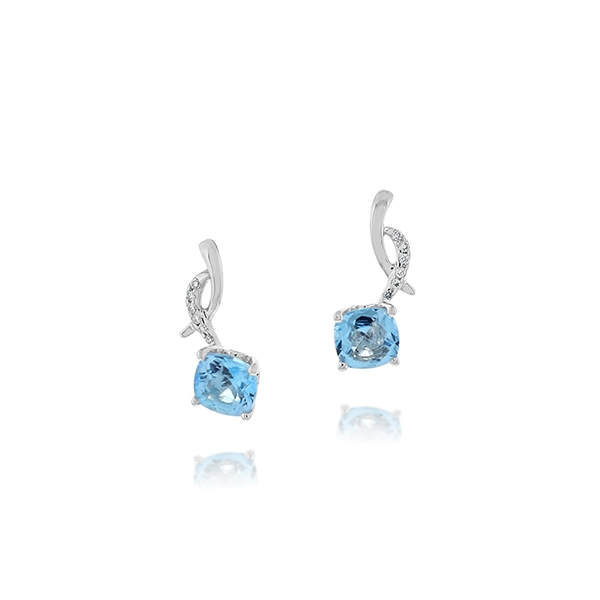 Blue Topaz & Diamond Earrings photo