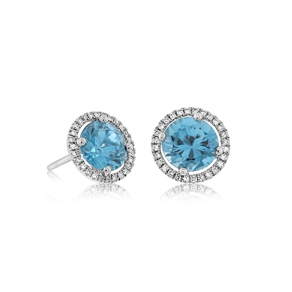 Blue Zircon & Diamond Earrings photo