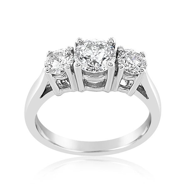 Complete 1.50 Carat Three Stone Diamond Engagement Ring photo