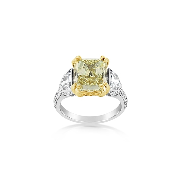 Complete 6.16 Carat Fancy Yellow Diamond Engagement Ring photo