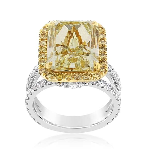 Complete 7.79 Carat Fancy Yellow Diamond Engagement Ring photo
