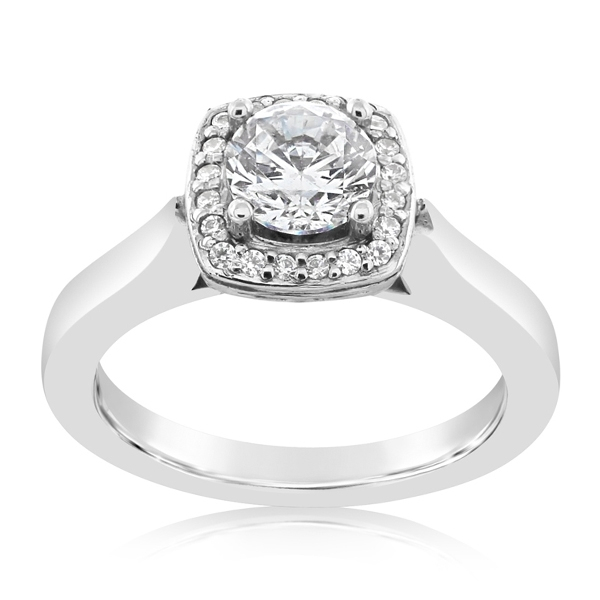 Cushion Halo Diamond Engagement Ring photo