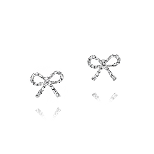 Diamond Mini Bow Earrings photo