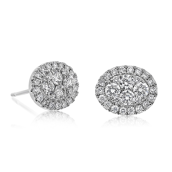 Diamond Oval Cluster Studs photo