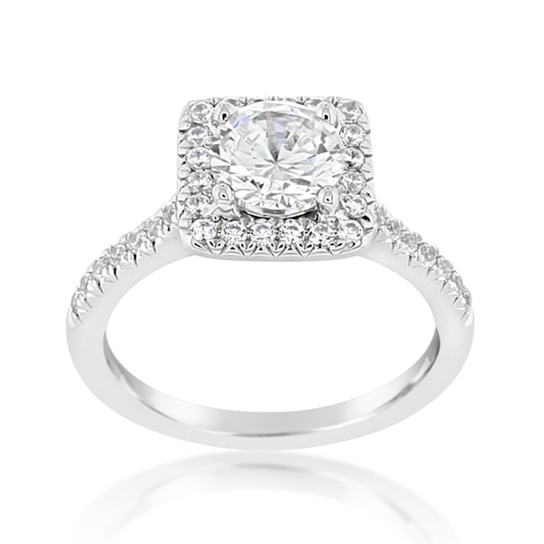 Diamond Square Halo Engagement Ring photo