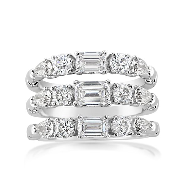 Diamond Three Row Fashion Ring photo