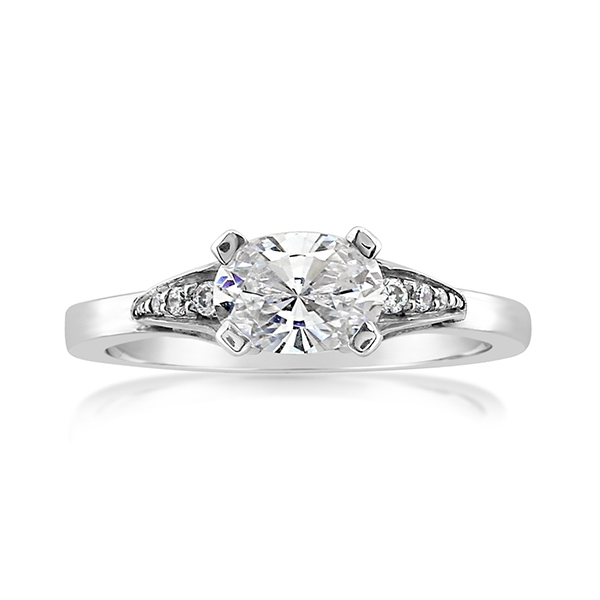 East/West Oval Diamond Engagement Ring photo