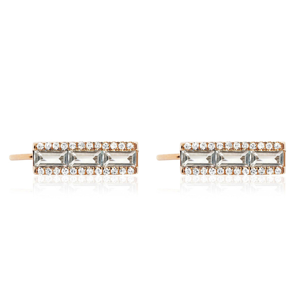 EF COLLECTION White Topaz & Diamond Ear Climbers photo