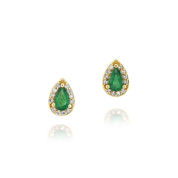 Emerald & Diamond Halo Stud Earrings photo