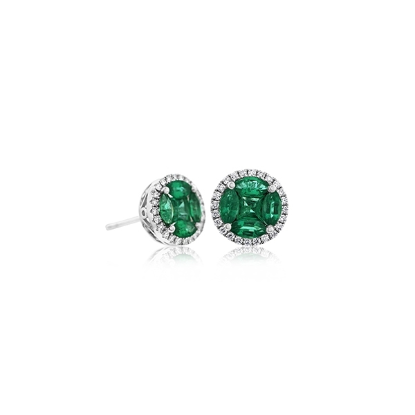 Emerald & Diamond Stud Earrings photo
