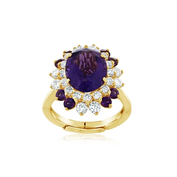Estate Amethyst & Diamond Fashion Ring photo