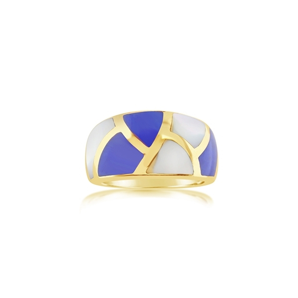 Estate Asch Grossbardt Mother-of-Pearl and Lapis Ring photo