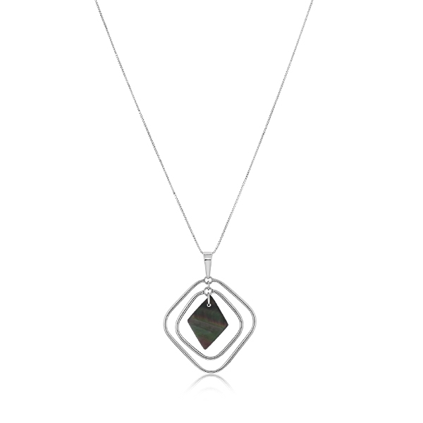 Estate Black Mother-Of-Pearl Open Geometric Necklace photo