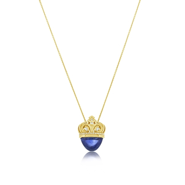Estate Blue Sapphire & Diamond Pendant photo