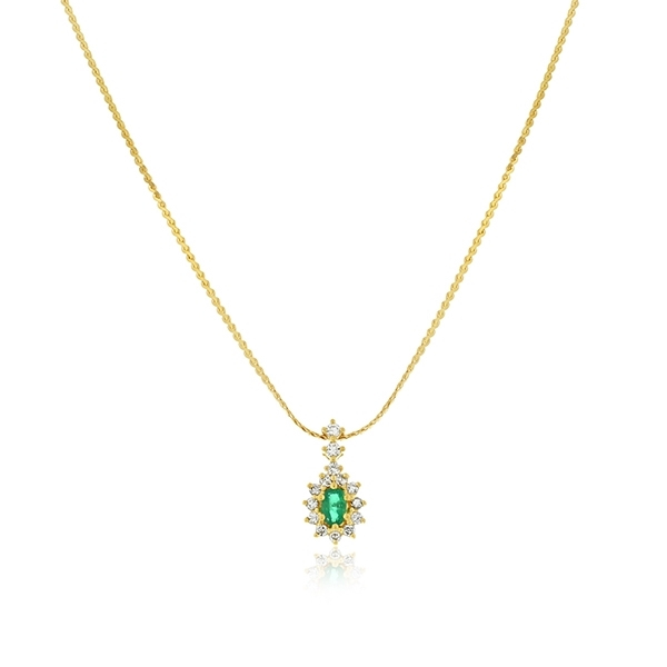 Estate Emerald & Diamond Necklace photo