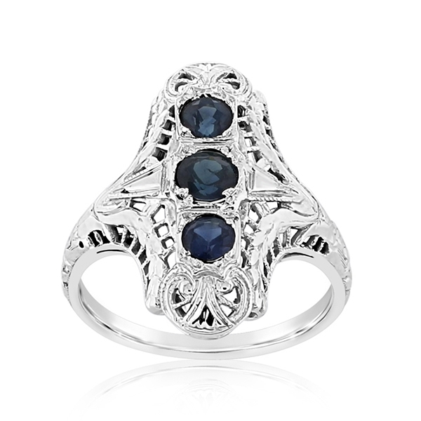 Estate Filigree Sapphire Ring photo