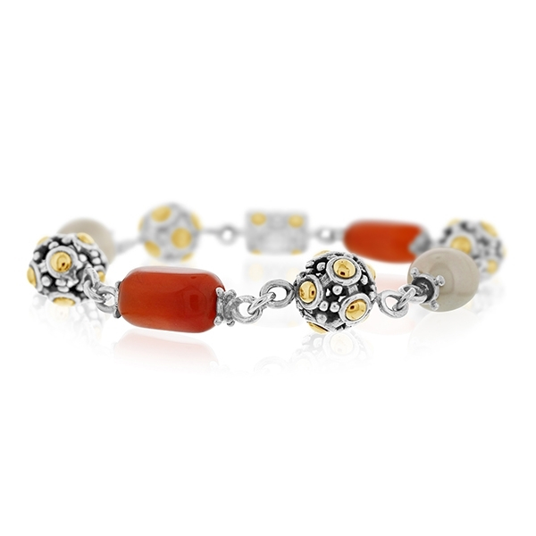 Estate John Hardy Jais Carnelian & Pearl Bracelet photo