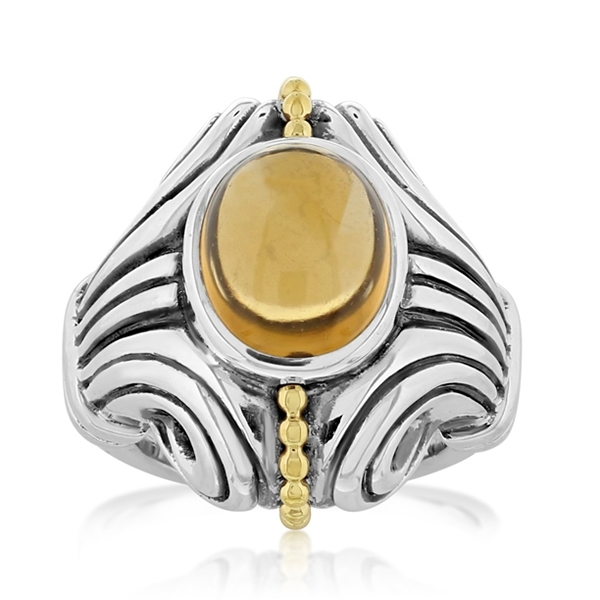 Estate Lagos Caviar Citrine Ring photo