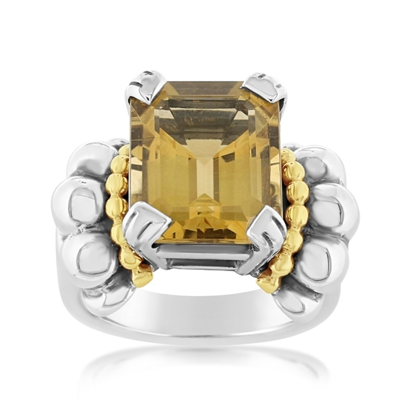 Estate Lagos Caviar Yellow Quartz Ring photo