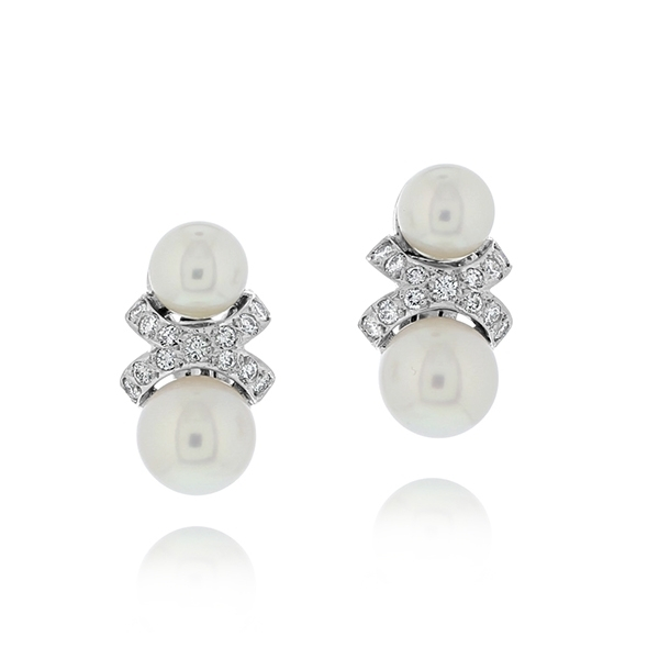 Estate Pearl & Diamond Earrings photo