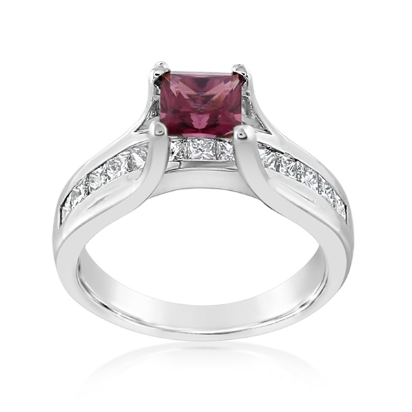 Estate Rhodolite Garnet & Diamond Ring photo