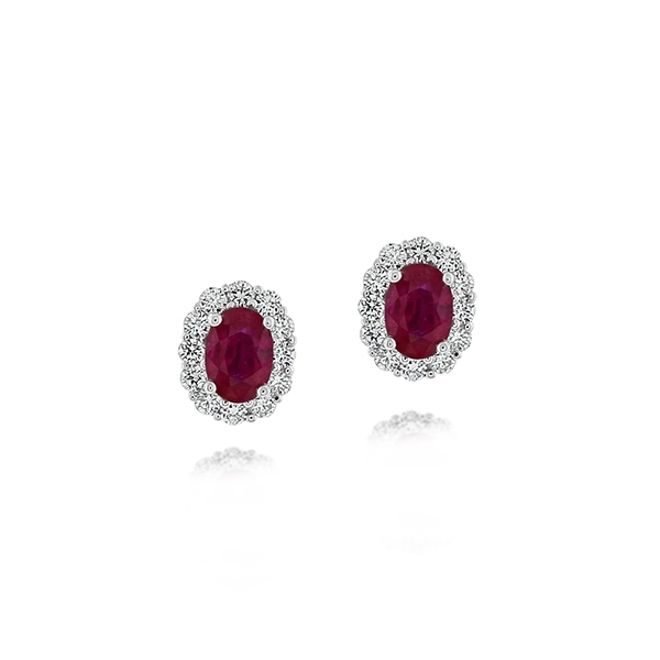 Estate Ruby & Diamond Earrings photo