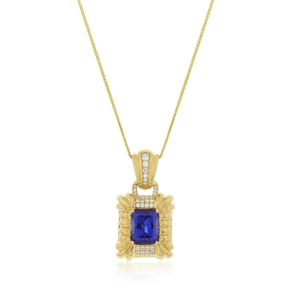 Estate Tanzanite & Diamond Pendant photo