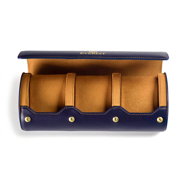 EVEREST HOROLOGY Navy Leather Watch Roll photo