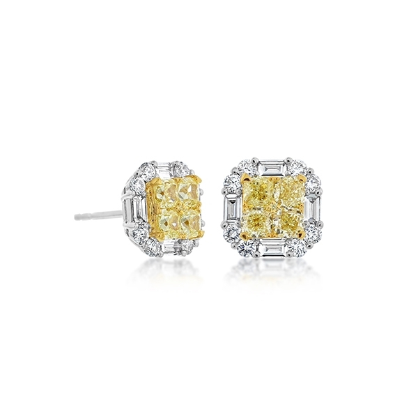 Fancy Yellow Diamond Studs photo