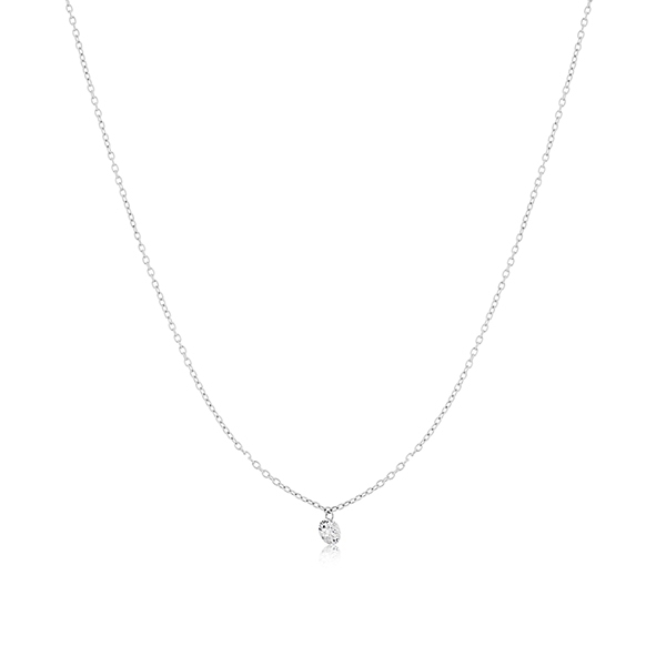 Floating Diamond Solitaire Necklace photo